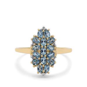 Nigerian Aquamarine Ring with Diamond in 9K Gold 0.95ct