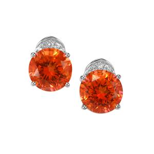 Padparadscha Quartz & White Topaz Sterling Silver Cupid Earrings ATGW 3.40cts