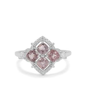 Burmese Spinel Ring with White Zircon in Sterling Silver 1.82cts