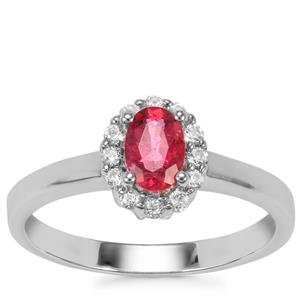 Cruzeiro Rubellite Ring with White Topaz in Sterling Silver 0.66ct