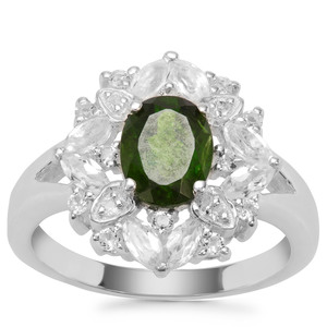 Chrome Diopside Ring with White Topaz in Sterling Silver 2.35cts