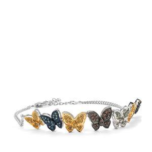 Multi-Colour Diamond Bracelet in Sterling Silver 1ct