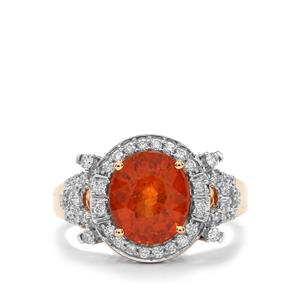 Mandarin Garnet Ring with Diamond in 18K Gold 4.31cts