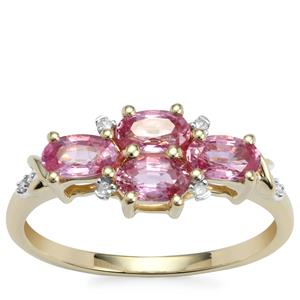 Sakaraha Pink Sapphire Ring with Diamond in 10K Gold 1.31cts