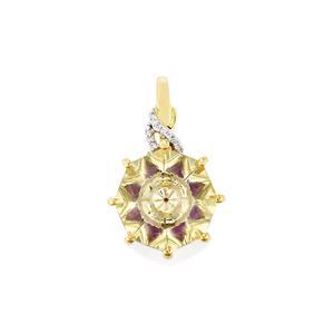 Lehrer KaleidosCut Serenite, Amethyst & Diamond 10K Gold Pendant ATGW 3ct