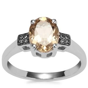 Bolivian Natural Champagne Quartz Ring with Champagne Diamond in Sterling Silver 1.60cts