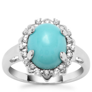 Sleeping Beauty Turquoise Ring with White Zircon in Sterling Silver 3.25cts