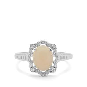 Coober Pedy Opal & White Zircon Sterling Silver Ring ATGW 1.20cts