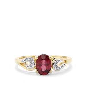 Malawi Garnet & Diamond 10K Gold Ring ATGW 1.12cts