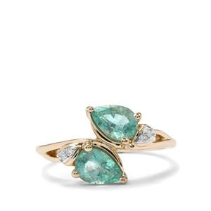 Zambian Emerald Ring with Diamond in 9K Gold 1.14cts