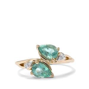 Zambian Emerald & Diamond 9K Gold Ring ATGW 1.14cts