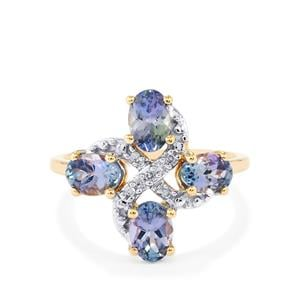 Bi Color Tanzanite Ring with Diamond in 10k Gold 1.93cts