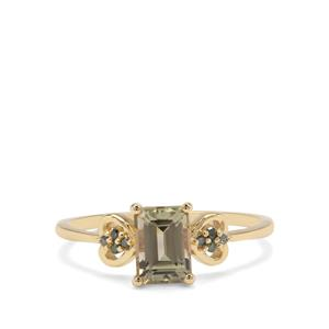 Csarite® Ring with Green Diamond in 9K Gold 1.26cts