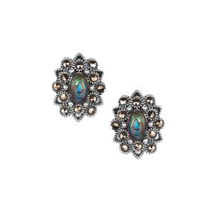 Paua and Natural Marcasite Sterling Silver Jewels of Vlais Earrings