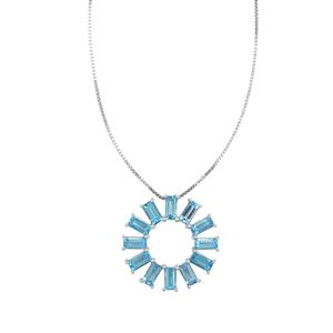 Swiss Blue Topaz Pendant Necklace in Sterling Silver 5.48cts