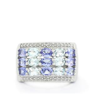 Tanzanite, Espirito Santo Aquamarine & Diamond Sterling Silver Ring ATGW 2.40cts