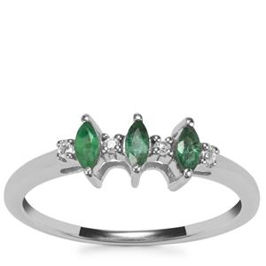 Luhlaza Emerald Ring with White Topaz in Sterling Silver 0.17ct