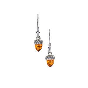 Baltic Cognac Amber Sterling Silver Earrings (9x6mm)