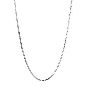"34"" Rhodium Plated Sterling Silver Tempo Box Chain 4.50g"