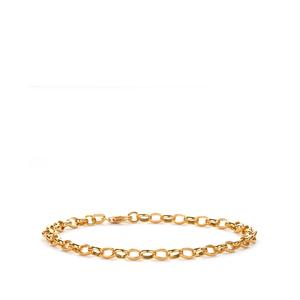"7"" 9K Gold Altro Oval Belcher Bracelet 1.60g"