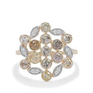 Multi-Colour Diamond Ring with White Diamond in 9K Gold 1.45cts