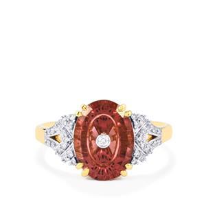 Lehrer TorusRing Zanzibar Zircon Ring with Diamond in 18k Gold 3.69cts