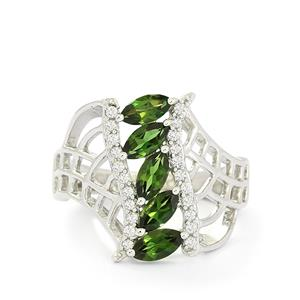 Chrome Tourmaline & White Topaz Sterling Silver Ring ATGW 1.24cts
