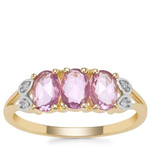 Rose Cut Purple Sapphire Ring with Diamond in 9K Gold 1.17cts