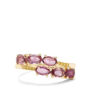 Sant Ruby & Yellow Diamond 9K Gold Ring ATGW 1.35cts