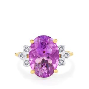 Moroccan Amethyst & White Zircon 10K Gold Ring ATGW 5.37cts