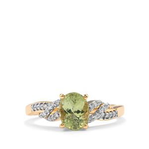Cuprian Tourmaline Ring with Diamond in 18K Gold 1.61cts