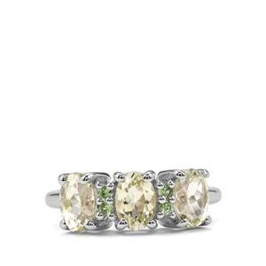 Sillimanite & Tsavorite Garnet Sterling Silver Ring ATGW 2.67cts