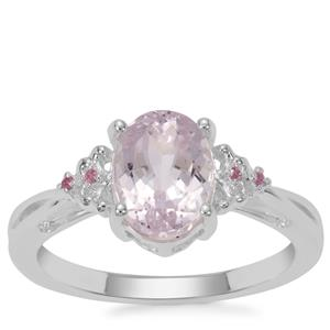 Brazilian Kunzite Ring with Thai Sapphire in Sterling Silver 2.55cts
