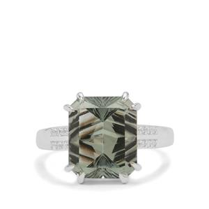 Sahl Cut Prasiolite Ring with White Zircon in Sterling Silver 5.85cts