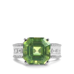 Fern Green Quartz & White Topaz Sterling Silver Asscher Cut Ring ATGW 8.33cts