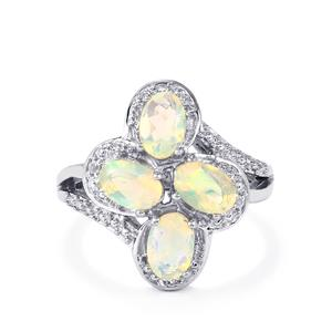 Ethiopian Opal & White Topaz Sterling Silver Ring ATGW 1.19cts