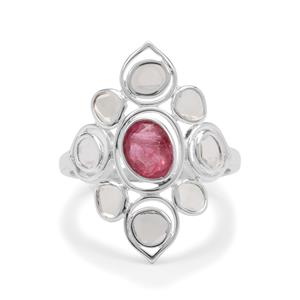 Polki Diamond Ring with Pink Spinel in Sterling Silver 1.25cts