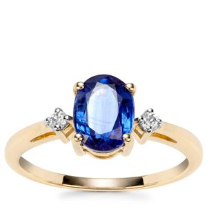 Daha Kyanite Ring with White Zircon in 9K Gold 1.76cts