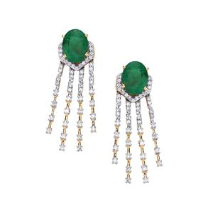 Minas Gerais Emerald Earrings with Diamond in 18K Gold 3.97cts