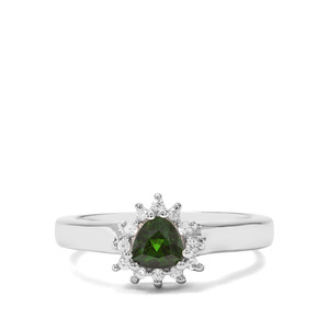 Chrome Diopside & White Zircon Sterling Silver Ring ATGW 0.66cts