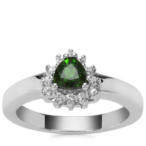 Chrome Diopside Ring with White Zircon in Sterling Silver 0.66ct