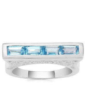 Swiss Blue Topaz Ring in Sterling Silver 1.47cts