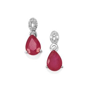 Malagasy Ruby Earrings with White Zircon in Sterling Silver 2cts (F)