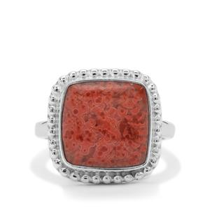 Red Horn Coral Ring in Sterling Silver 6.75cts