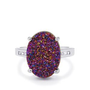 Purple Drusy & White Zircon Sterling Silver Ring ATGW 7.43cts
