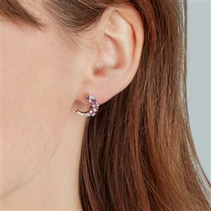 Natural Purple Sapphire Earrings with White Zircon in 10K Gold 1.70cts