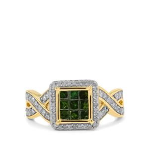 White Diamond Ring with Green Diamond in 9K Gold 1cts