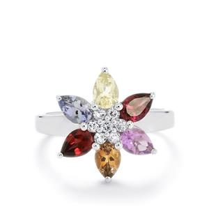 Exotic Gems Ring in Sterling Silver 2.83cts
