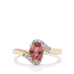 Rosé Apatite & White Zircon 9K Gold Ring ATGW 1.27cts