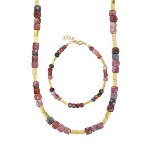Multi-Colour Tourmaline Set of Bracelet and Necklace with Gold Haematite in Gold Plated Sterling Silver 87.31cts